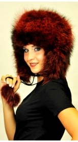 Red Raccoon fur hat Ushanka