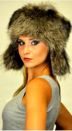 Raccoon fur hat ushanka