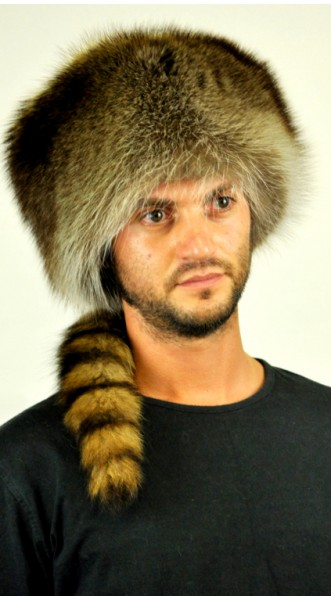 Coonskin Cap | Genuine Raccoon Fur | Men's Real Fur Hats
