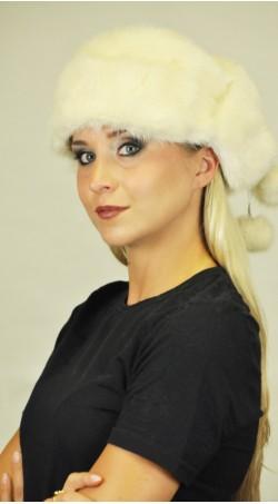 Scandinavian white mink fur hat - Ushanka