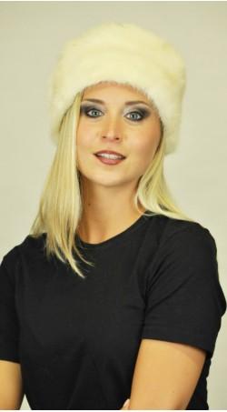 White mink fur hat classic