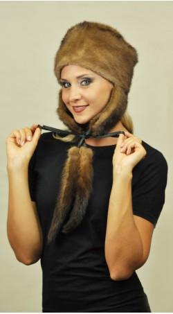 Mink fur hat Ushanka