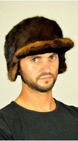 Mink fur hat with visor
