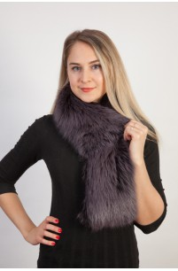 Blue fox fur scarf-collar