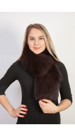 Natural black fox fur scarf-collar (extra dark brown color)