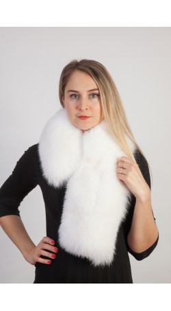 White fox fur scarf-collar