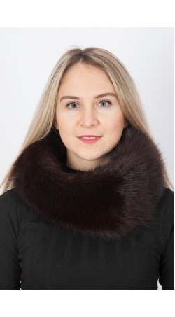 Dark brown fox fur neck warmer