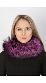 Fuchsia fox fur neck warmer