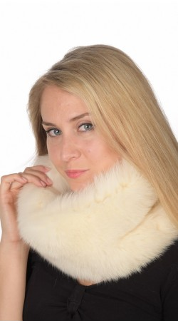 White-Cream Fox Fur Neck Warmer