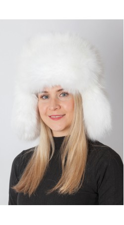 Arctic white fox fur hat – Russian style