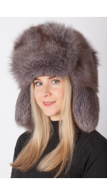 Arctic blue fox fur hat - russian style