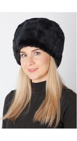 Black rex rabbit fur hat