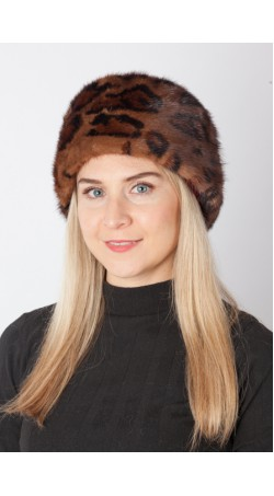 Spotted mink fur hat