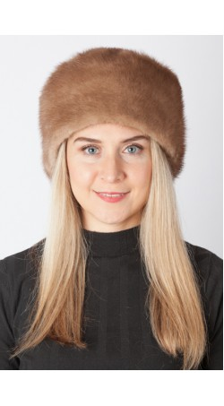 Light brown mink fur hat