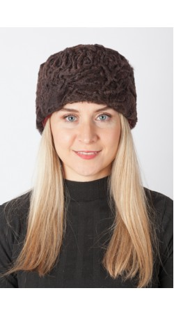 Dark brown karakul fur hat