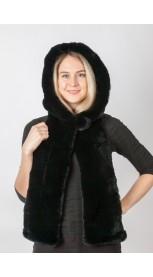 Black rex fur hood-scarf