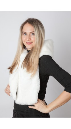White rex fur hood-scarf