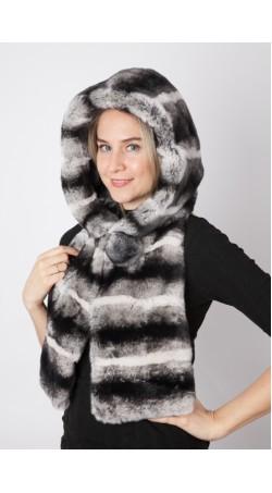 Rex chinchilla fur hood-scarf