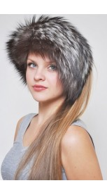 Silver fox fur headband