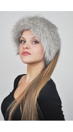 Grey fox fur headband