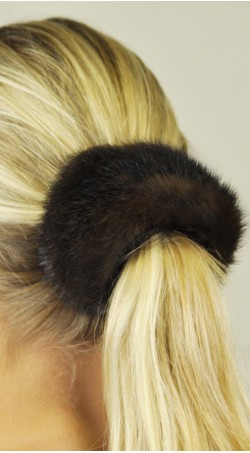 Hair rubber band - mink fur, dark