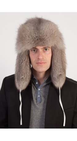 Natural grey fox fur hat - Russian style