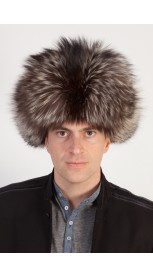 Silver fox fur hat - Russian style hat