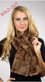 Mink pieces fur scarf - Created with brown mink fur remnants