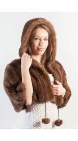 Mink fur shawl, with hood