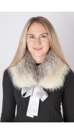 Arctic fox fur collar-neck warmer