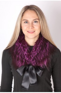 Fuchsia fox fur collar-neck warmer
