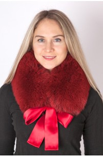 Red-cherry fox fur collar-neck warmer
