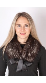 Silver fox fur collar-neck warmer (dark silver fox)