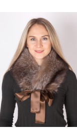 Raccoon fur collar-neck warmer