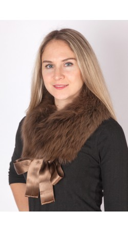 Brown fox fur collar-neck warmer