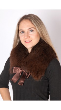Dark brown fox fur collar-neck warmer