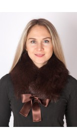 Extra dark brown fox fur collar-neck warmer