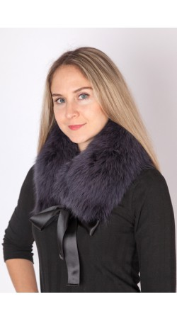 Dark blue fox fur collar-neck warmer