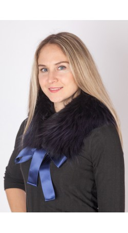 Extra dark blue fox fur collar-neck warmer