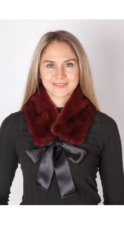 Red mink fur collar-neck warmer