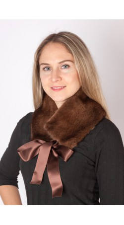 Mink fur collar-neck warmer