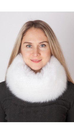 White fox fur headband-neck warmer