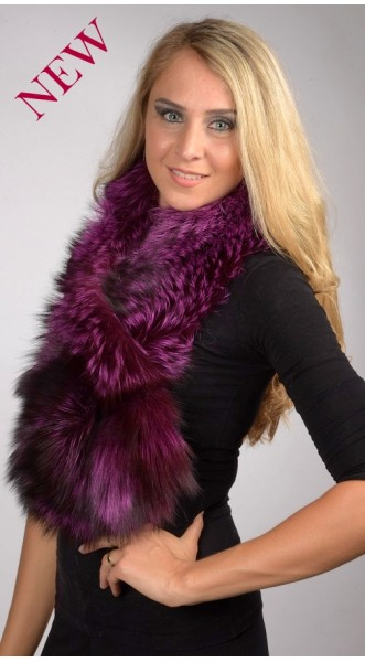 Violet Fox Fur Scarf