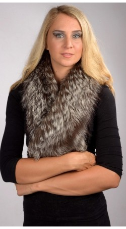 Silver Fox Fur Scarf - Fur on both sides