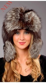 Authentic Silver fox fur hat - Russian style