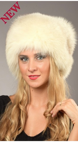 ce426be881161 Greenland White-Cream Fox Fur Hat