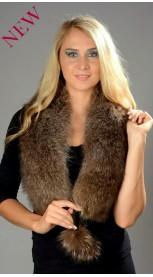 Raccoon fur scarf with pom-poms