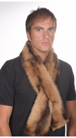 Polecat fur scarf - long cream