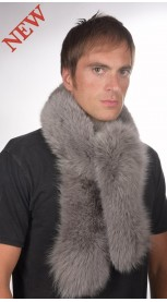 Men's blue fox fur scarf