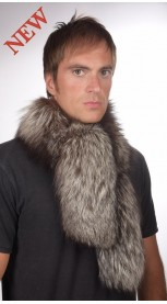 Men's silver fox fur scarf